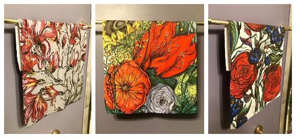 Botanical art tea towels by Kellie Cox